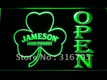 074 Jameson Whiskey Shamrock OPEN Bar LED Neon Sign with On/Off Switch 7 Colors 4 Sizes to choose