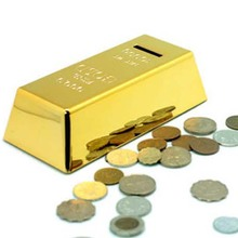 New High Quality Fashion Design Novelty Fun Gold Brick Piggy Bank Coin Money Box Storage Tank Kids Gifts(China)