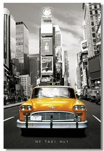 Custom Canvas Wall Decor The NY Tax NO.1 Poster New York Yellow Cab Stickers Mural Times Square Wallpaper Bar Cafe Decals #0044#(China)