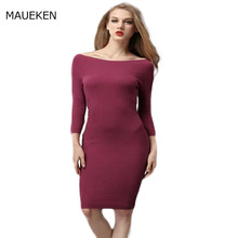 2017 Autumn Knitted Dress Woman Show Thin Off The Shoulder Long Sleeves Women's Clothing Sheath Solid Pencil Sexy dresses(China)