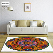 Carpet Poliester Mandala Living Room Bedroom Circular Traditional Native Ornament Art Set Bands Round Indian Orange Purple White