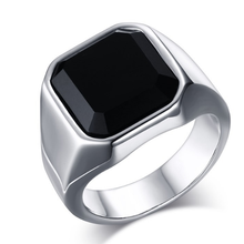 Square Black Onyx Stone Thick Band Ring Men In Titanium Stainless Steel Gold / Silver Color Brief Style Mens Jewelry Large Size