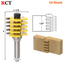 "1pc Box Joint Router Bit - Adjustable 5 Blade - 3 Flute - 1/2"" Shank For Wood Cutter Tenon Cutter for Woodworking Tools RCT15383"