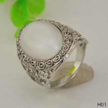 Luxury Natural MoonStone Ring European and American Hipster Lady Gifts Cat Eye Stones Opal Rings for Women 4 size
