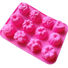 1PCS Silicone Cake Moulds 12 Lattices Flower Jelly pudding Dessert Mould Chocolate Mold