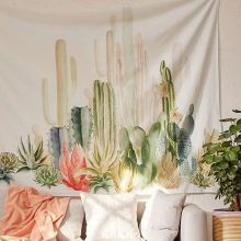 Wall Hanging Cactus Tapestry Cotton Bohemian 150*150cm Cover Beach Towel Throw Blanket Picnic Yoga Mat Home Decoration Textiles(China)