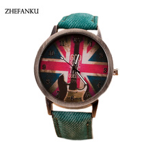 Vintage Jeans Strap Guita Watch For Women Leather UK Flags Watch Fashion Casual Wrist Watch Relogio Feminino Drop Shipping