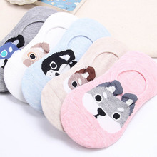 New Spring Summer Cartoon Cute Puppy Husky Pomeranian Pattern Sox Fashion Cotton Creative Funny Crew Socks Invisible Boat Socks(China)
