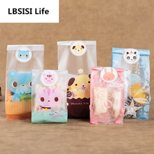 100Pcs Puppy Cat Snow Present DIY Cookie Bag Candy Bags Self Stand Ssouvenir Birthday Party Decoration Machine Sealing Food Bag(China)