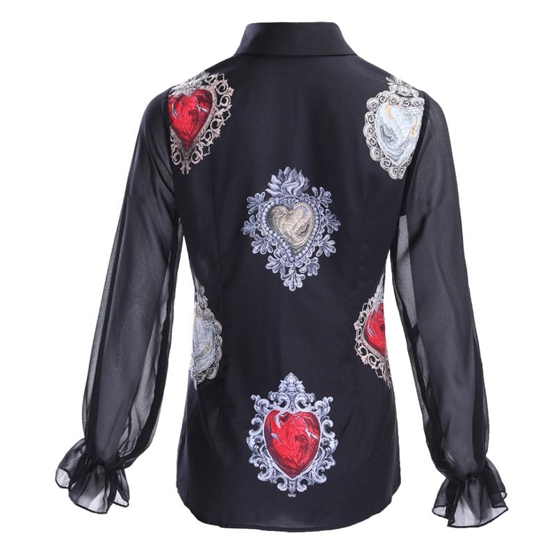 by Megyn heart Print Blouse Summer 2019 Women Long sleeve Bow Collar Casual Shirt High Quality Tops female blouse skirt 3XL