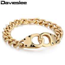 11mm 22cm Boys Mens Chain Gold Color Silver Tone Handcuff Connect Curb Link Chain 316L Stainless Steel Bracelet Jewelry LHB430