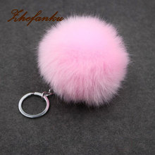 2017 Fashion Gold Metal Buckle Key Chain Faux Rabbit Fur Ball Pendant Bag Keychain Small Gift 17 Colors 1 Pcs