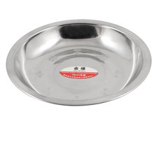 UXCELL 15.5Cm X 2.1Cm Round Silver Tone Stainless Steel Dinner Dish Plate Food Holder dish