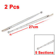UXCELL Product Name 2Pcs 27Cm Length 5 Sections Telescopic Antenna Aerial Mast For Tv Rc Controller antenna | telescopic(China)