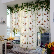 Roman style Butterfly Printed Tulle Door Window Balcony Sheer Panel Screen Curtain Colorful Butterfly Lifting Curtain
