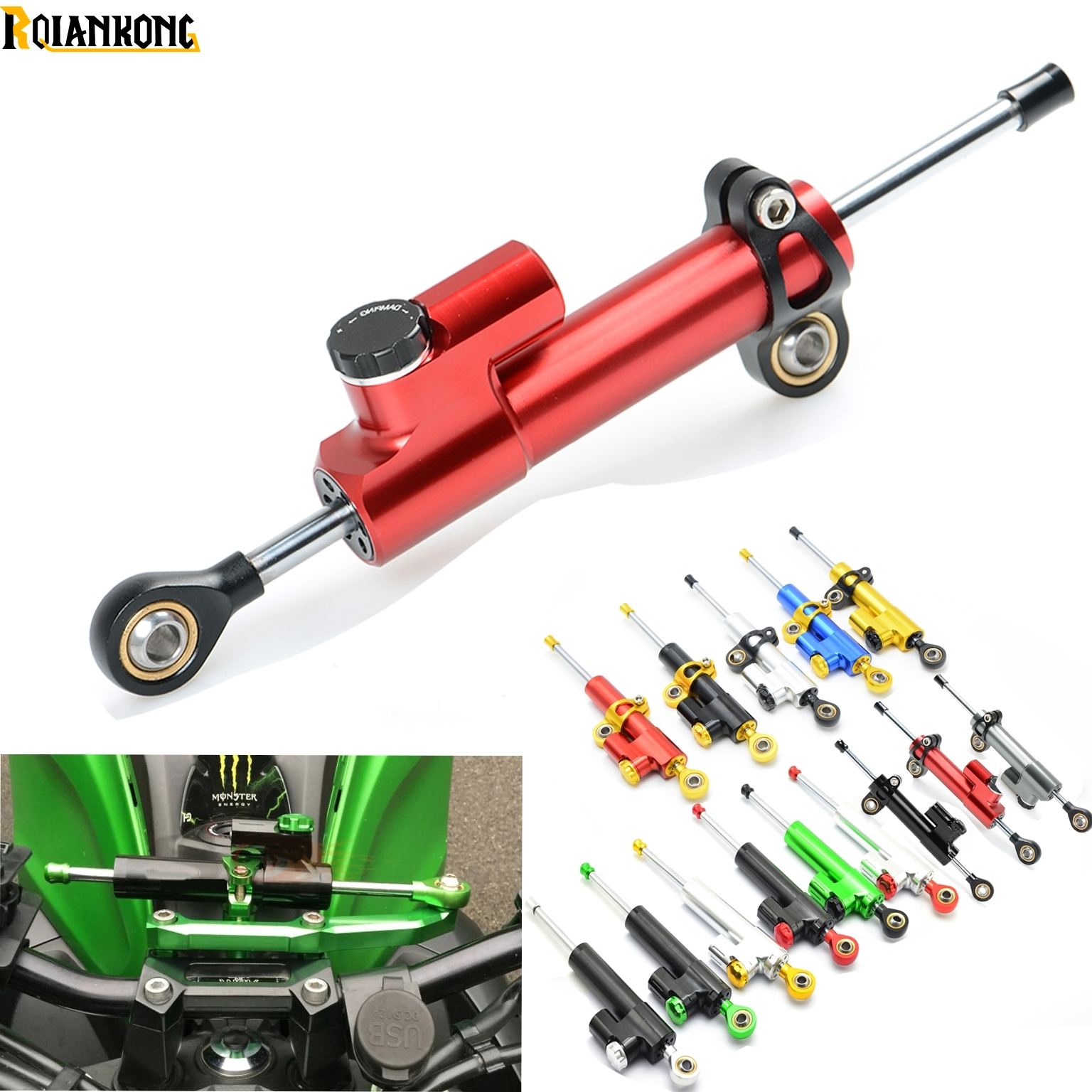CNC Aluminum Motorcycle Steering Damper Stabilizer Linear Safe Control for Ducati MONSTER 400 620 695 696 796 821 1100 1200<br>