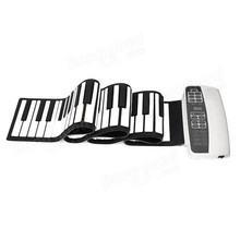 White Black S-88 Professional Silicone Flexible 88 Key Roll Up Piano 140 Tones with MIDI Keyboard For Musical Instruments Lovers