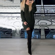 Buy Autumn Winter 2017 Women Sexy Dress Sweater Dress Ladies Long Sleeve V Neck Backless Package Hip Bodycon Clubwear Vestidos for $12.20 in AliExpress store