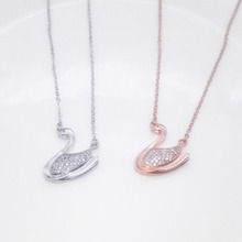 2017 Fashion Famous Brand Design Full Crystal Clear Swan Pendant Necklace For Women Girl Gift Chain Jewelry(China)
