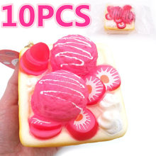 10Pcs/lot New Squishy Cute Ice Cream Toast Slow Rising Jumbo Phone Straps Scented Pendant Cake Bread Kid Fun Toy Gift Doll