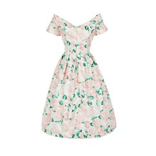 Dress Summer Autumn 2017 the new printed retro elegant printing posed the dress waist cultivate one's morality show thin Vestido(China)