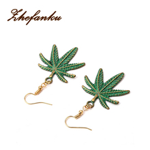 Simple Korean Alloy Green Leaf Dangle Earrings For Women Vintage Double Sided Coconut Drop Earrings Fashion Jewelry Gift(China)