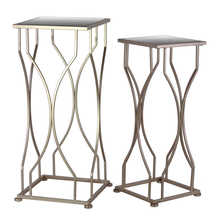Urban Trends Metal Accent Table with Mirror Top and Square Base Set of Two Coated Finish()