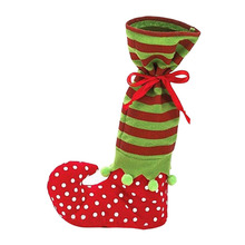 1 Piece 2016 Santa Candy Sock Christmas Decoration Satin Children Gift Bag Elf Foot Polka Dot Giving Gift Bag(China)