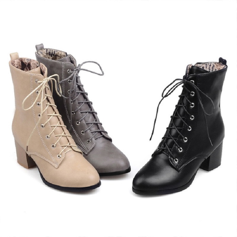 2017 autumn and winter new Martin boots rough heel cylinder 45 large size womens shoes<br>