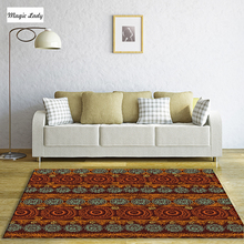 Carpets Custom Traditional Circular Rounds Southern Ornaments Outline Drawings Tribal Culture African Art Stripes Brown Red Blue