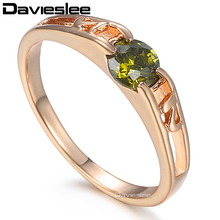 Davieslee Womens Lady Ring Green CZ Cubic Zirconia Rose Gold Filled Solitaire Band LGR18(China)