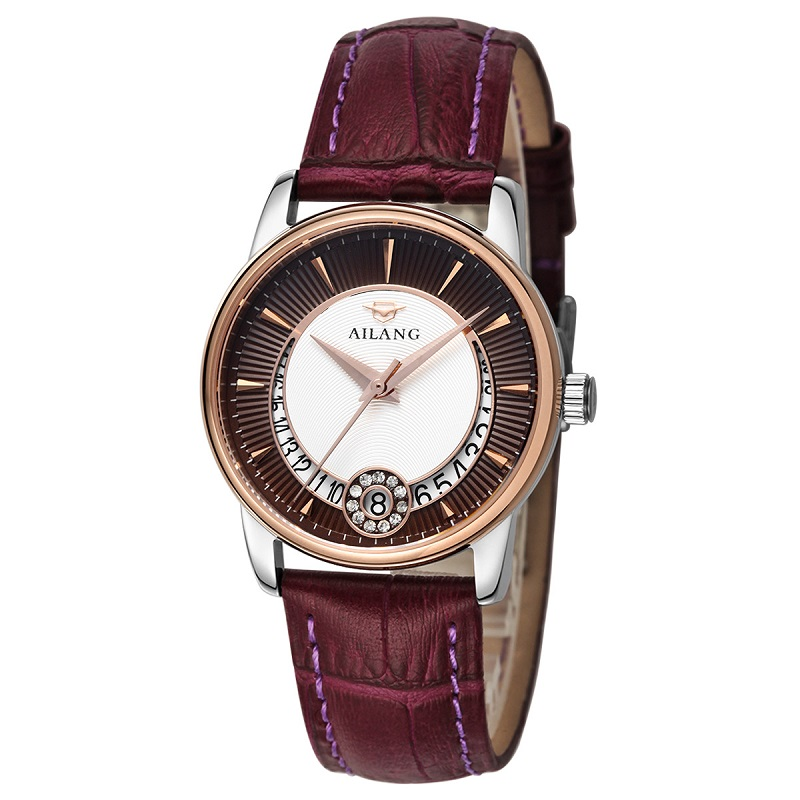 AILANG Mark 8 mm ultra-thin Watches Women 2016 Luxury Genuine leather strap Quartz Watch Fashion Watch Women Waterproof femme<br>