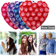 4 Color 24pcs Rose Flower Petals Soap Handmade Fragrant Soap Valentine Christmas Wedding Party Gift Set Whitening Body Skin Care