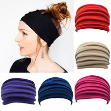 Giraffita 1 Piece Women Wide Nonslip Head bands Stretch Hairband Elastic Headwrap Fold Band super wide Hair Bands Accessories