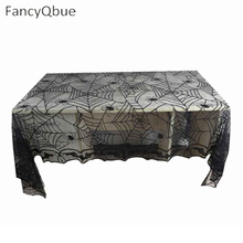 Halloween Rectangle Black Lace Spider Bat Table Cloth Halloween Decoration Horrifying Spider Web Party Tablecloth