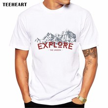 2017 Summer Explore The Unseen Design T Shirt Men's High Quality Adventurous Spirit Printed Tops Hipster Tees(China)