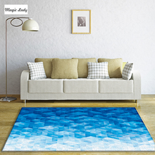 Carpet For Living Room Bedroom Texture Shapes Abstract Decoration Lines Geometrical Squares Art Cubes Figures Pattern Blue Beige
