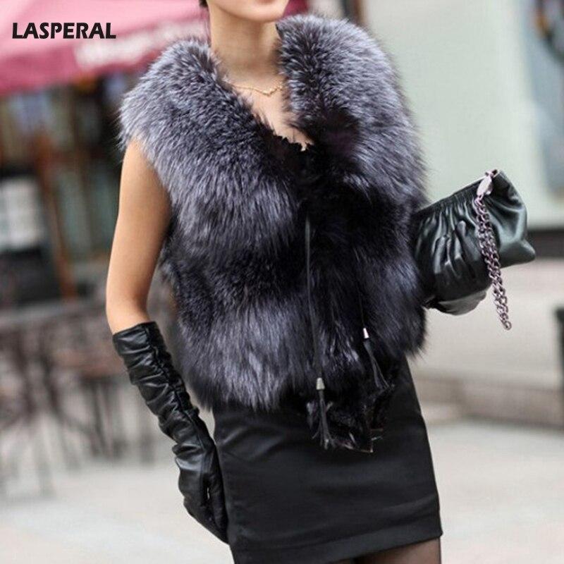 LASPERAL 2017 Winter Faux Fur Coat Warm Women Coat Vests Fashion Furs Women's Coats Jacket Sleeveless Female Waistcoat Plus Size