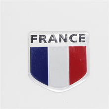 France FR Sports National Flag Emblem Badge Car Aluminum Sticker Styling For Peugeot Citroen Renault Bugatti DS(China)