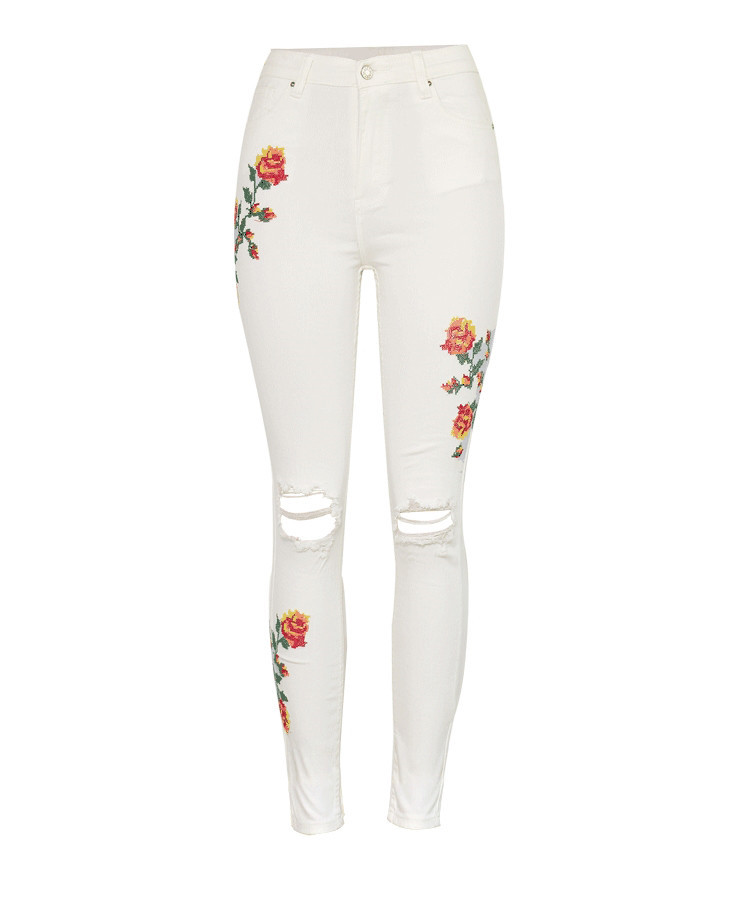 Women's High Waist High Elastic Cross Embroidery Beige Skulls Skinny Jeans Cropped Trousers (2)