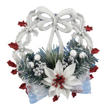 Christmas Wreath Garland Hanging Pendant Decor Wall Decorations Christmas Ornament Flower Festivals Plastic Accessories Pendant(China)