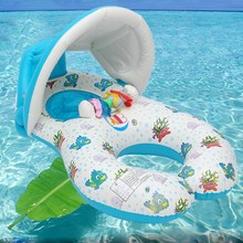 Pool Toys Baby Swimming Neck Ring With Subshade Mother And Children Swim Circle Inflatable Safety Swimming Ring Pool Float Seat(China)