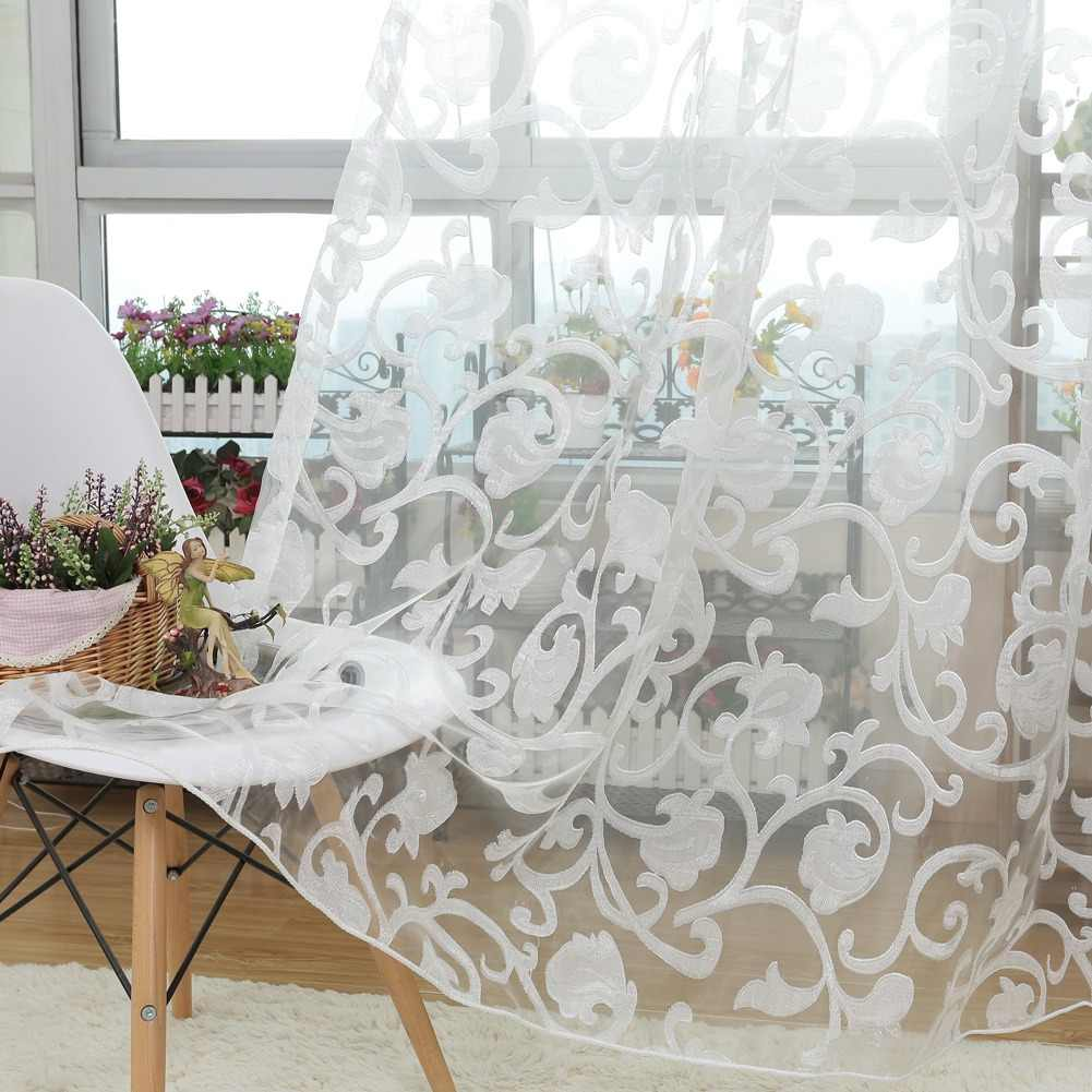 NAPEARL European style jacquard design sheer panel tulle curtain for living room balcony organza fabrics European style window