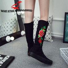 Big Size 34-43 Women fashion High-top zipper Embroider flat boots Long-barreled casual flats canvas boots Tall Punk Shoes MA-78