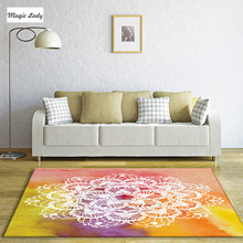 Carpet For Living Room Bedroom Decoraiton Floral Weaves Figures Circles Rounding Colorful Handsome Pentagon Yellow Beige Brown