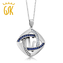GemStoneKing 925 Sterling Silver Inter-loop Created Sapphire and Natural Accent Diamond Pendant Necklace For Women