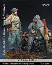 1/35 Resin Figure Model Kit WWII U.S. (NO motorcycle) 2 FIGURES Unassambled Unpainted(China)
