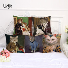 Urijk 1PC Christmas Home Decorative Cushion Cover Cat Ladies and Gentlemen Creative Throw Pillow for Sofa Bay Window Linen Cover(China)