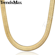 Trendsmax Herringbone Snake Chain Gold Filled Necklace High Quality Mens Womens Fashion Jewelry GNM38(Hong Kong)