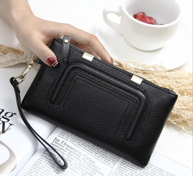 Genuine Leather Women Wallets Luxury Brand 2017 New Design High Quality Fashion Girls Purse Card Holder Long Clutch<br>